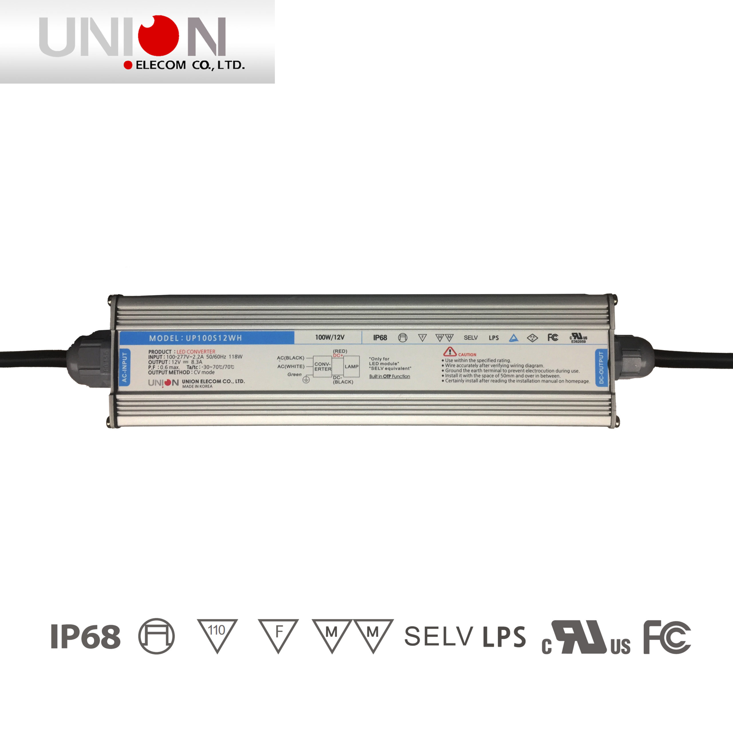 12v 100w Outdoor Led Power Supply Up100s12wh Union
